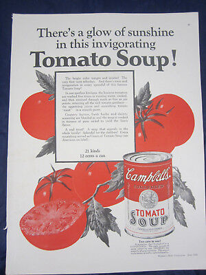 1926 Campbell's Tomato Soup Vintage Print Ad Two Cans in One Glow of Sunshine