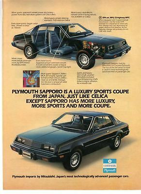 1980 Car vintage print ad Chrysler Plymouth Sapporo Japan Luxury Sports Coupe