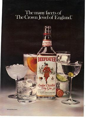 1980 vintage print ad Beefeater London Distilled Dry Gin Crown Jewel of England