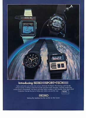 1983 Vintage Print Ad Seiko Sport Tech Watches Welcome to the 21st Century