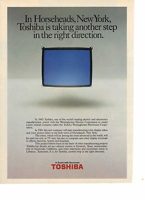 1986 Old Vintage Print AD: Toshiba In Horseheads New York - Color Display Tube