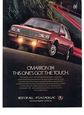 1983 Vintage Car Print Ad Cadillac Cimarron '84 This One's Got The Touch