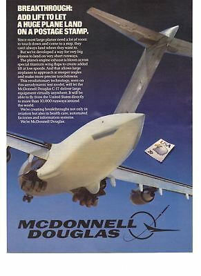1985 Airplane Print Ad McDonnell Douglas Add Lift Land Huge Plane on a Stamp