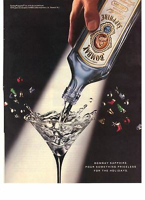 1989 Bombay Sapphire Pour Something Priceless for the Holidays Vintage Print Ad