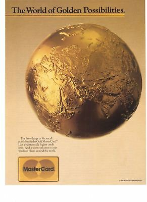 1988 Mastercard Gold Card The World of Golden Possibilities Vintage Print Ad