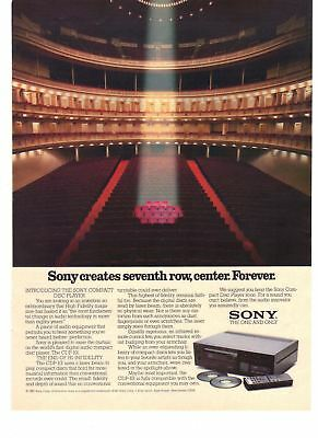 1983 Vintage Print Ad Sony Compact Disc Player Seventh Row Center Forever