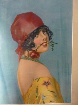 Antique vintage Flapper girl Lithograph Litho print professionally Framed Pretty
