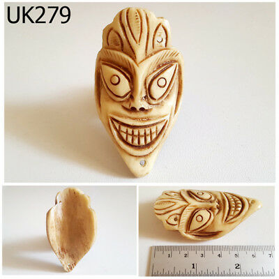 Antique Handcarve Face SKULL YAK BONE Bead NAGALAND Pendant #UK279a