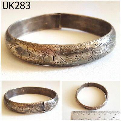 Antique Gorgeous Filigree Medieval Real Silver Bangle Bracelet #UK283a