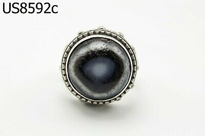 Ancient Black Evil Agate Goat EYE Real Silver Ring 9 US #8592