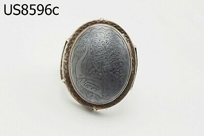 Huge Antique Leklai Allah Islamic Floral Real Silver Ring 9.5 US #8596