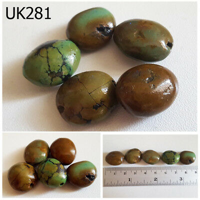 Lot 5 Old Natural Real  Green Spider Webbed Turquoise Beads #UK281a