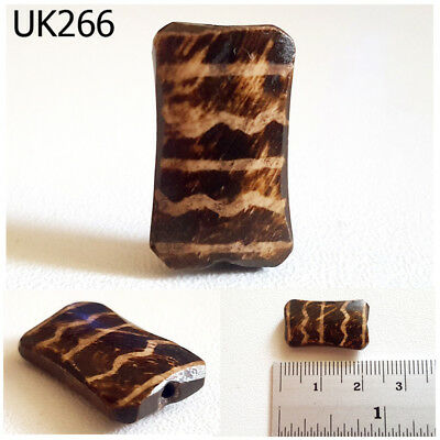 VERY Rare Pumtek 2 Sided Wave DESIGN Tube Flat Real Fossil Wood Bead #UK266a