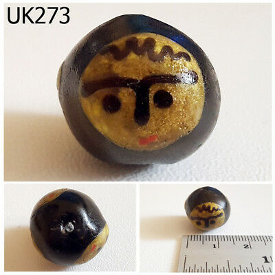 Vintage Excavated 2 Side Yellow Face Mosaic Glass Ball Bead #UK273a