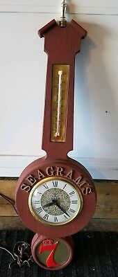 Vintage 1960's-70's Seagram's  Wall Clock Thermometer Beer Sign