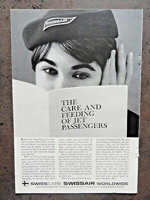 1960  SWISSAIR AIRLINES Ad - The care and feeding of Jet Passengers