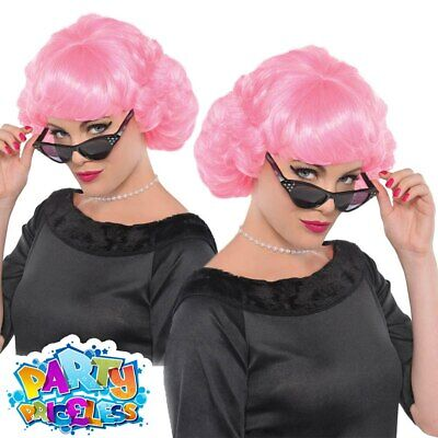 Ladies Frenchy Wig Grease 1950s Frenchie Pink Fancy Dress Accessory Womens