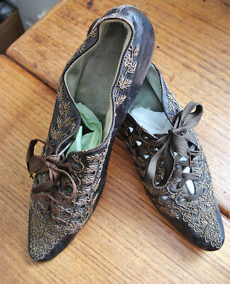 Antique Vintage Edwardian Leather Beaded Lace Up Shoes Museum