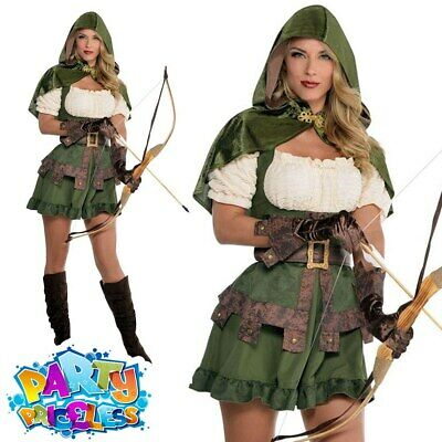 Womens Archeress Hunter Robin Hood Medieval Fancy Dress Costume Ladies Outfit