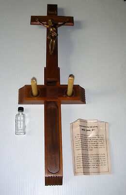 Vtg Wood Catholic Last Rites Sick Call Crucifix Cross Candles Holy Water Bottle