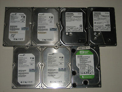 "Lot of 7 3.5"" PC Computer SATA Hard Drives - 500GB / 1TB / 2TB - Seagate / WD"