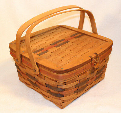 Longaberger 1988 All American Small Picnic Basket With Riser Unused