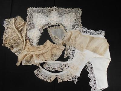 Lot Of 6 Fabulous Vintage Lace Collars Of All Kinds,good For Doll, Baby, Garment