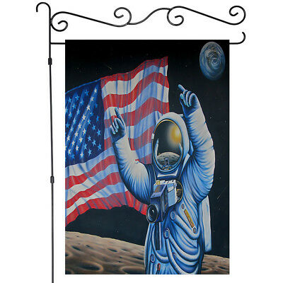 American Astronauts Board The Moon Garden Flag Double-sided House Decor Banner