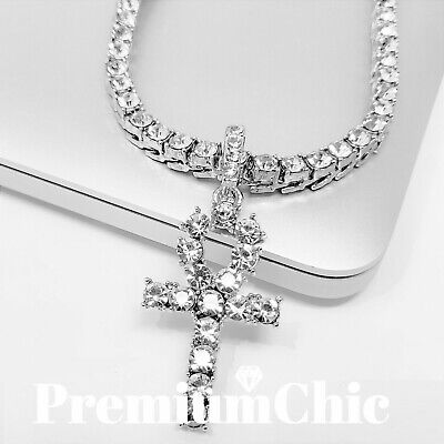 ANKH Cross Pendant Tennis Chain 14K Plated Silver Gold Rose HipHop ICED Necklace
