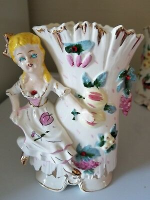 VINTAGE  LADY FIGURAL PORCELAIN VASE,,made in JAPAN