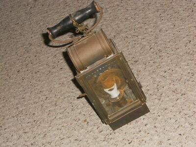 Antique vintage WW I brass German lantern with chain and hook-very nice piece!!