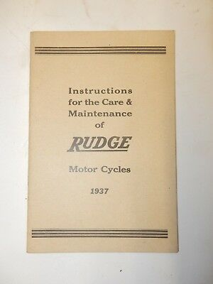 Rudge Motorcycles 1937 Instruction And Maintenance Manual Ref Cs2A