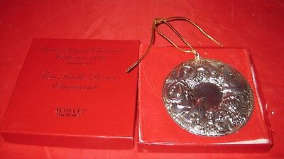 TOWLE Sterling Twelve Days of Christmas 2 Turtledoves  Ornament 1992  ~Box, Bag