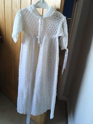 christening gown 3-6 months - knitted / crochet - white £8.95