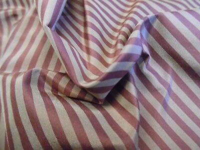 "HIGH END SILK TAFFETA~SMALL STRIPES~MUTED BERRY/SEPIA~ 9""x27""~DOLL FABRIC"