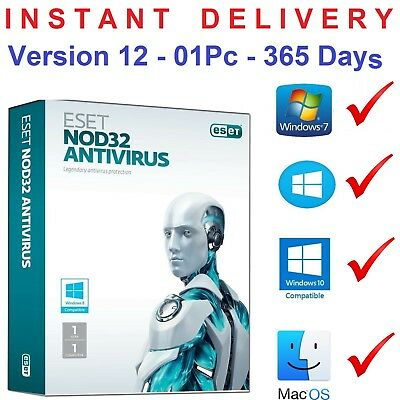 Eset Nod32 Antivirus - Global key - 1 PC / 1 Year Till 2020 - 365 days - V.12.0