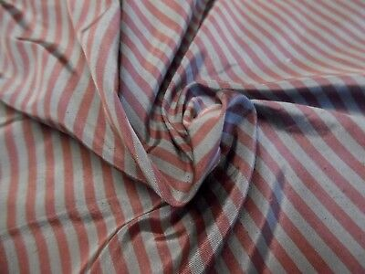"HIGH END SILK TAFFETA~SMALL STRIPES~ BERRY/COIN GREY~ 9""x27""~DOLL FABRIC"