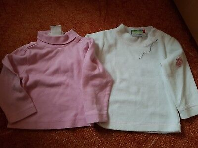 2er Set Basics Pulli Gr. 62/68  in rosa/ weiß - Samt *top