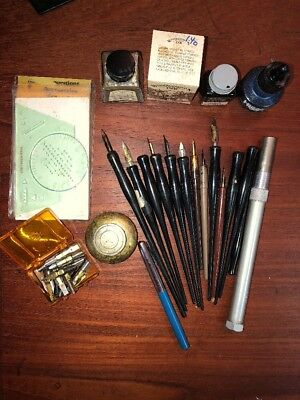 Lot Vintage Ink Calligraphy Pens & Pen Nibs Ink Well