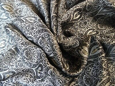 SMALLER SIZE! MICRO JACQUARD SILK BROCADE~BLACK/PEARL/GOLD~9x22~DOLL FABRIC