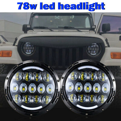 "2pcs 7"" inch 48W Round CREE CHIP LED Hi/Low H4 H13 Headlight For Hummer H1 H2"