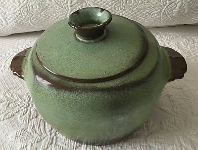 Frankoma Plainsman Prairie Green Covered Casserole Baker Bean Pot 3 Qt 5W