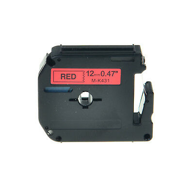 Compatible MK431 M431 12mm Black on Red Label Tape With Brother PT-80SCCP PT-85