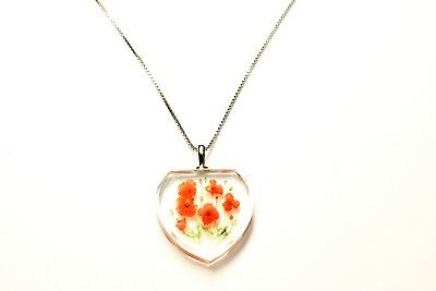 Sterling Silver Poppy Flowers Heart Pendant Necklace (c1990s)