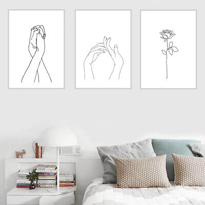 Nordic Simplified Flower Hands Drawing Canvas Painting Wall Picture Home Decor