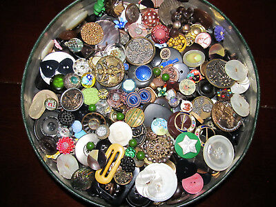 antique BUTTONS lot 2+ lbs glass moonglow metal picture mop paperweight enamel