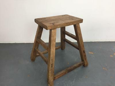 Vintage Rustic Antique Wooden Stool Milking Large Waxed W106