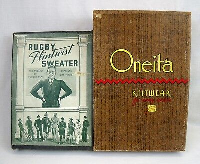 2 Vintage Men's clothing Boxes 1940s Oneita knitwear Rugby advertising box only