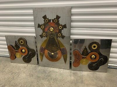 Set Of 3 Brutalist Mixed Metals Wall Plaques In The Manner Of Paul Vanders
