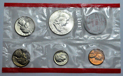 1963 DENVER US MINT UNCIRCULATED SET OF 5 COINS 3 COINS- 90% SILVER Coins !